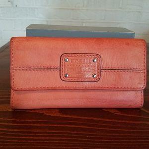Fossil wallet tan/coral/orange color vintage